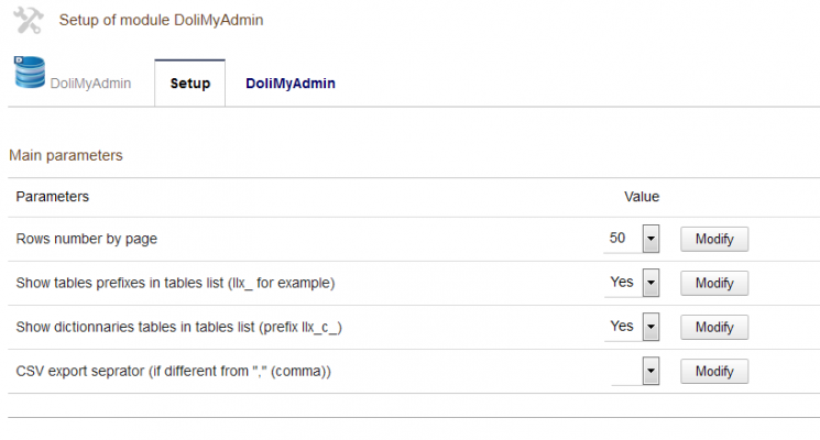 DoliMyAdmin - Dolibarr Database administration