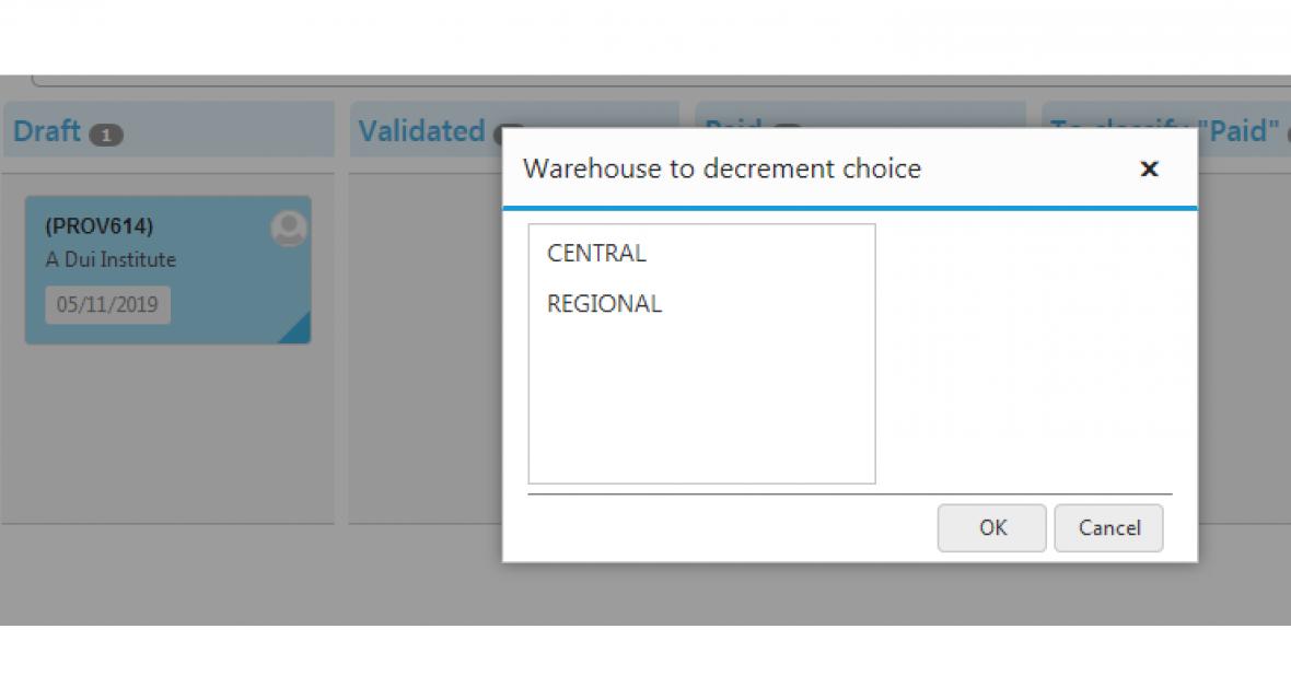 Kanban views for Dolibarr -  Invoices Kanban view warehouse choice