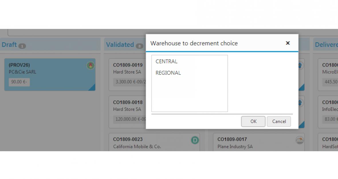 Kanban views for Dolibarr -  Orders Kanban view warehouce choice