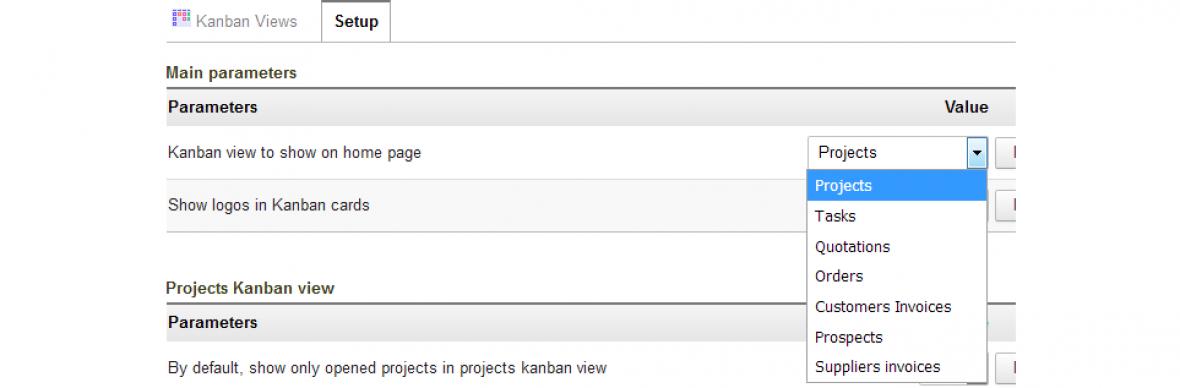 Choosing the Kanban view to display on KanView module home