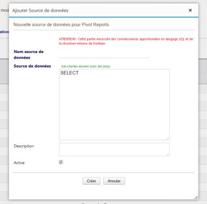 Pivot Reports - Ajouter une Source de données