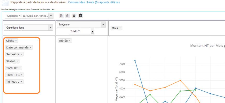 Pivot Reports - Paramètre : Placer les champs inutilisés verticalement = Oui