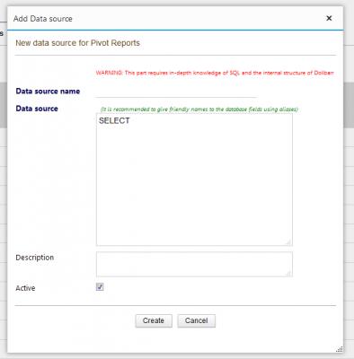 Pivot Reports - Add a Data source dialog
