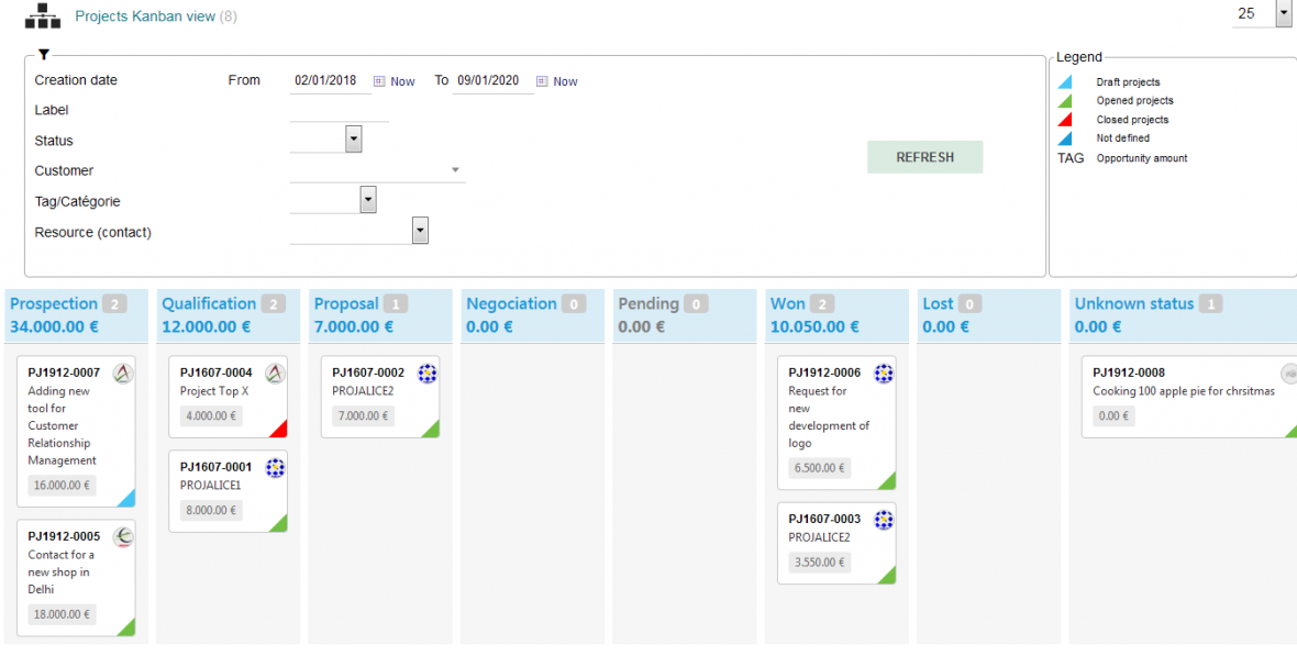 Dolibarr Module KanView - Projects Kanban view